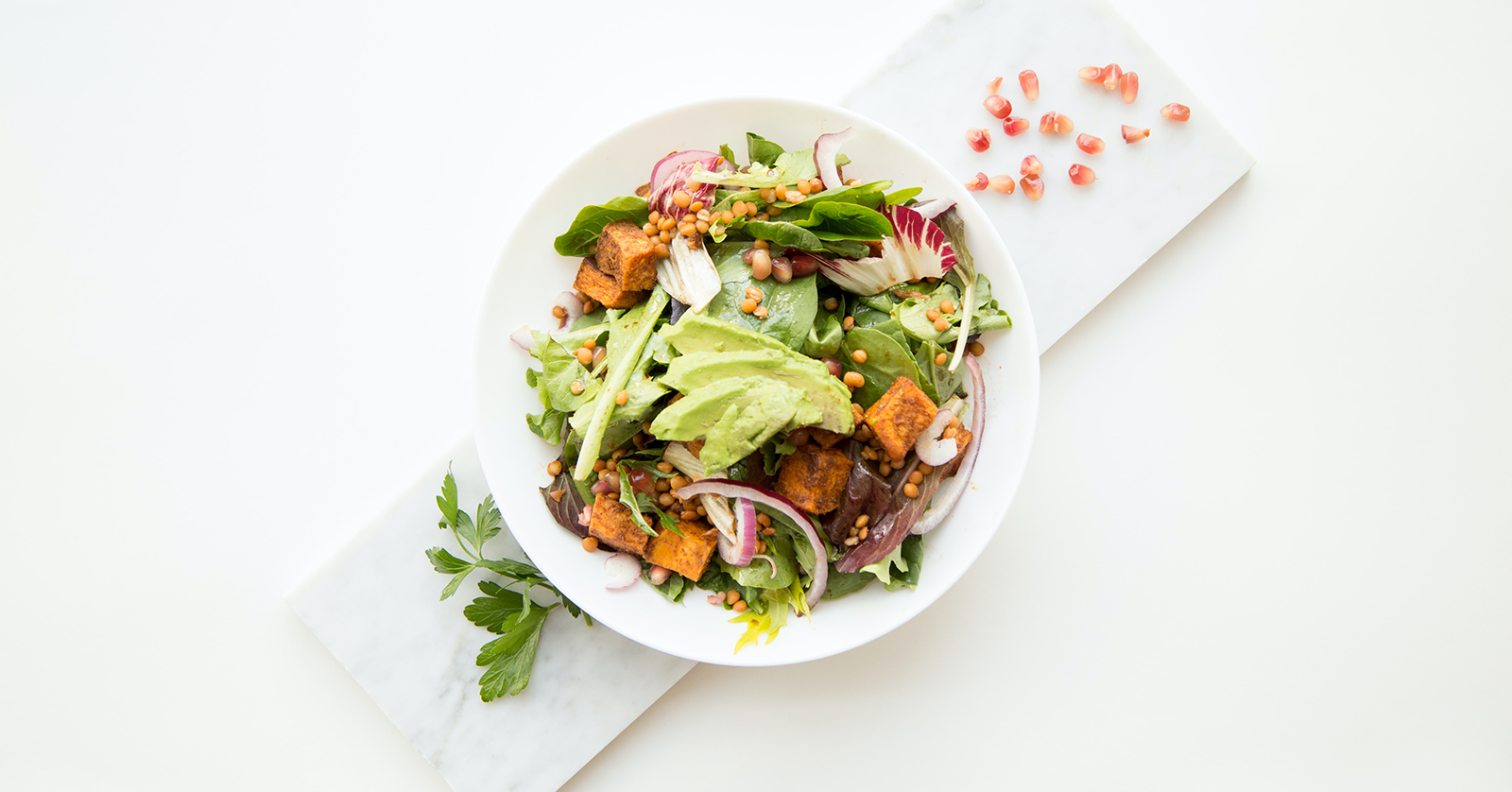 Bird's eye view of a healthy salad